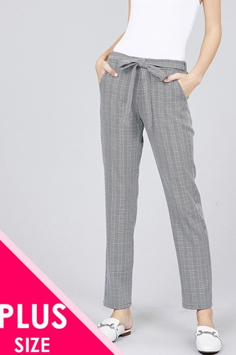 Self ribbon detail checked woven ankle pants-id.cc37134