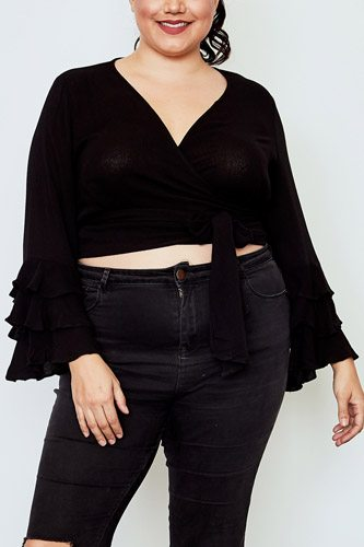 Plus size tiered bell sleeve tie front wrap top-id.cc37138
