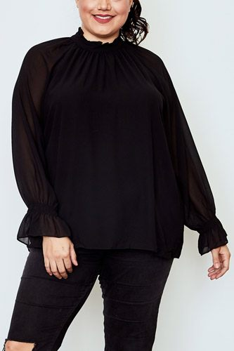Plus size high neck ruffle long sleeve top-id.cc37141
