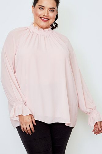 Plus size high neck ruffle long sleeve top-id.cc37141b