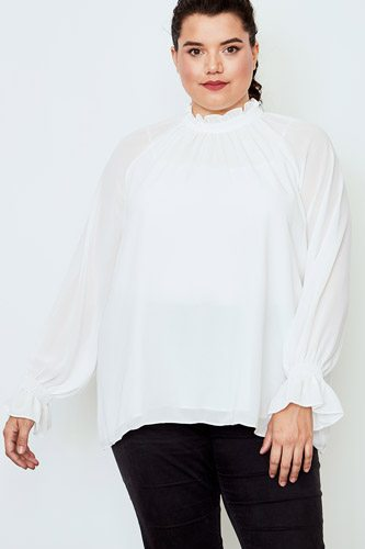 Plus size high neck ruffle long sleeve top-id.cc37141c