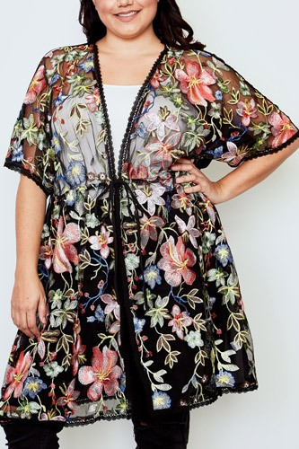 Plus size black sheer floral embroidered waist tie kimono-id.cc37142