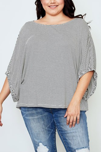 Plus size white stripe print batwing sleeves top-id.cc37143