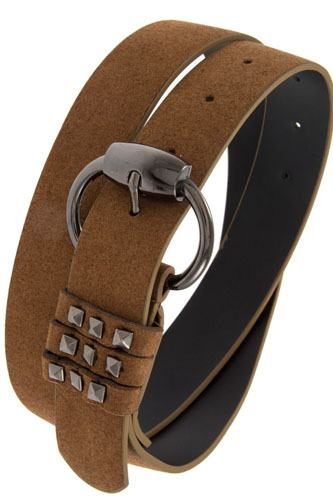 Studded accent faux suede belt-id.cc37149