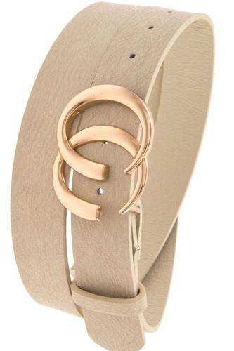 Double semi circle buckle faux leather belt-id.cc37152