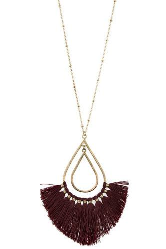 Elongated teardrop fringe pendant necklace set-id.cc37161