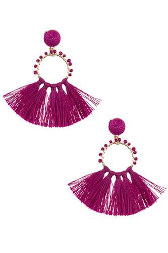 Beaded ring tassel fan earring-id.cc37175