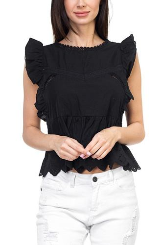 Sleeveless ruffle trim eyelet top-id.cc37200b
