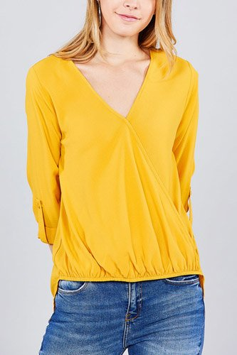 3/4 roll up sleeve v-neck w/surplice woven top-id.cc37202b