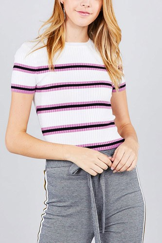 Short sleeve round neck multi stripe rib sweater top-id.cc37203b