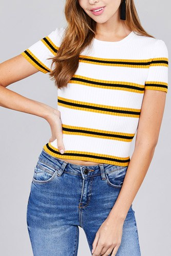 Short sleeve round neck multi stripe rib sweater top-id.cc37203c