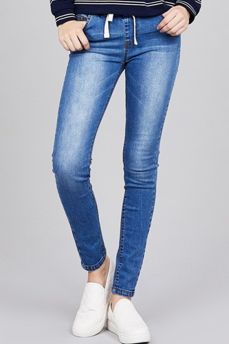 Waist drawstring washed denim jogger skinny pants-id.cc37204a