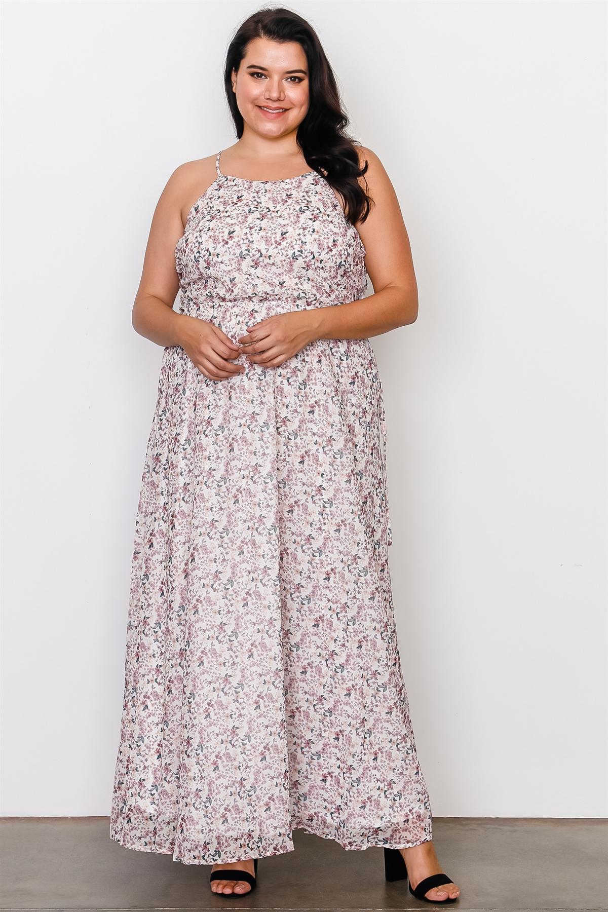 757fc2cfec64 Plus size off white floral print side lace up maxi dress-id.cc37269
