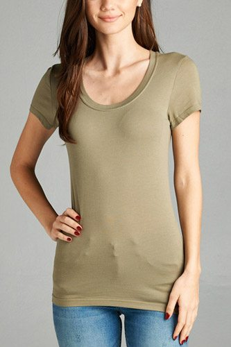 Basic short sleeve scoop-neck tee-id.cc37282w