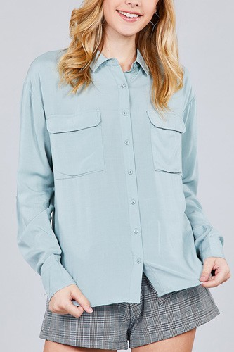 3/4 roll up sleeve chest flap pocket woven shirts-id.cc37284f