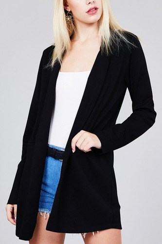 Long sleeve notched collar tunic jacket-id.cc37285