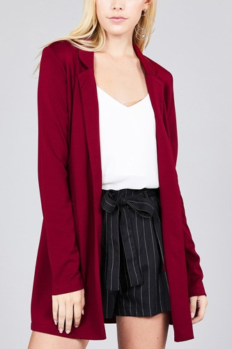Long sleeve notched collar w/pocket tunic jacket-id.cc37285a