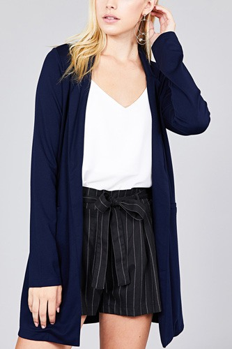 Long sleeve notched collar w/pocket tunic jacket-id.cc37285d