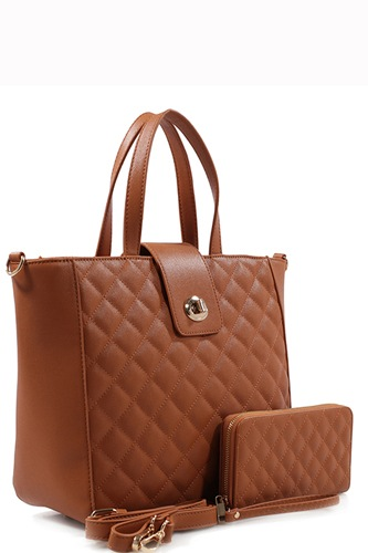 Designer quilted 2 in 1 tote bag set-id.cc37292