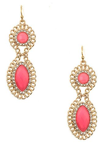 Double drop framed gem earring-id.cc37307