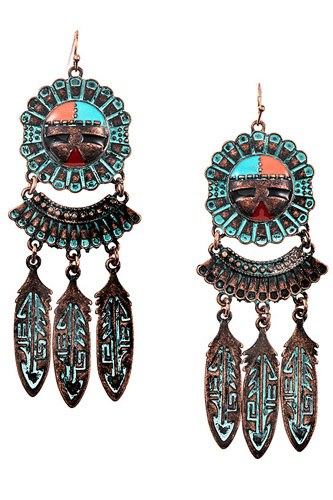 Tribal etched dangle earring-id.cc37310