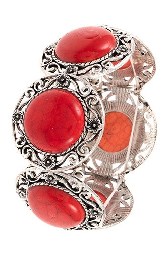Circle gem floral framed filigree bracelet-id.cc37319
