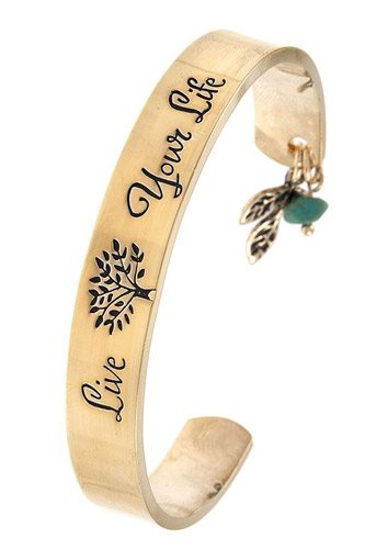 Live your life etched cuff bracelet-id.cc37323