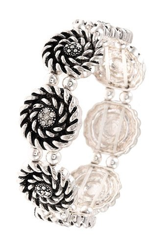 Etched swirl circle link bracelet-id.cc37324