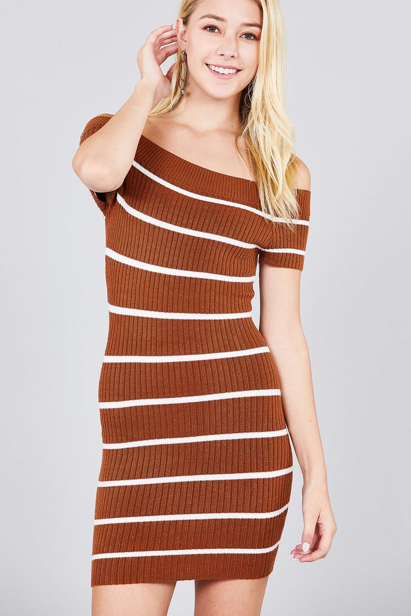 c6476dd0aba0 Short sleeve off the shoulder striped mini sweater dress-id.cc37347b.  Caramel White