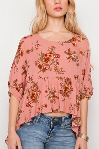 Floral multi peach high low round neck top-id.cc37335