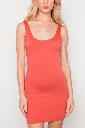 Rust sleeveless tank mini basic dress-id.cc37336