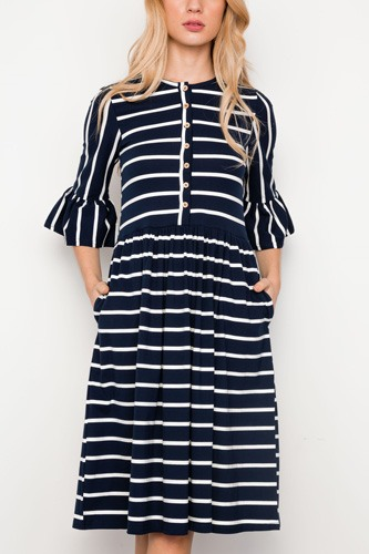 Navy blue striped ruffle sleeve midi boho dress-id.cc37337
