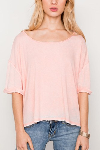 Coral scoop neck short sleeve top-id.cc37341