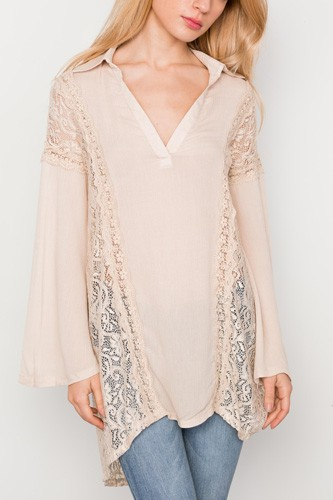 Combo lace bell sleeve tunic top-id.cc37342