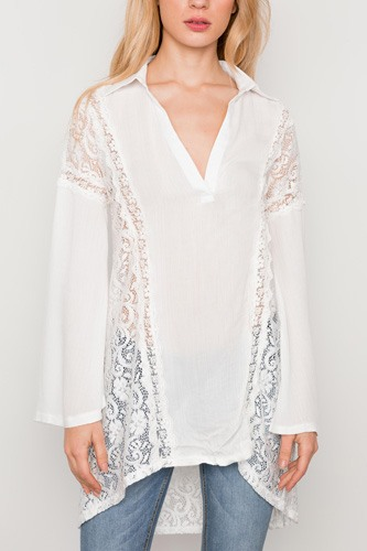 Combo lace bell sleeve tunic top-id.cc37342a