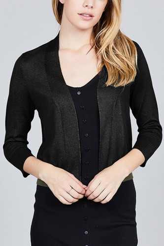 3/4 sleeve open front crop cardigan-id.cc37345