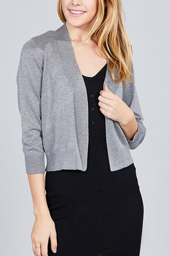 3/4 sleeve open front crop cardigan-id.cc37345b