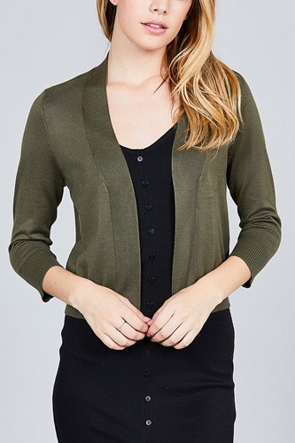 3/4 sleeve open front crop cardigan-id.cc37345f