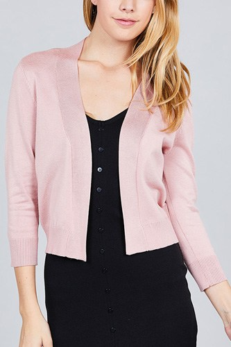 3/4 sleeve open front crop cardigan-id.cc37345g