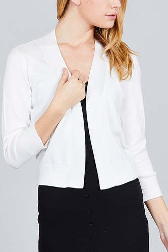 3/4 sleeve open front crop cardigan-id.cc37345h