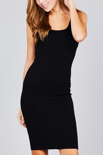 Double scoop neck body fitted rib sweater dress-id.cc37346