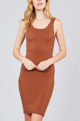 Double scoop neck body fitted rib sweater dress-id.cc37346a
