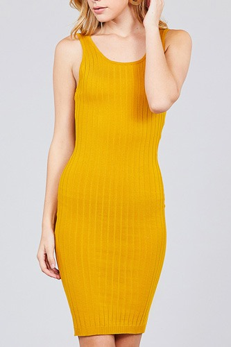 Double scoop neck body fitted rib sweater dress-id.cc37346c