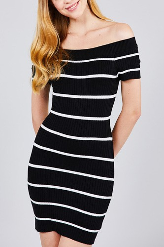 Short sleeve off the shoulder striped mini sweater dress-id.cc37347