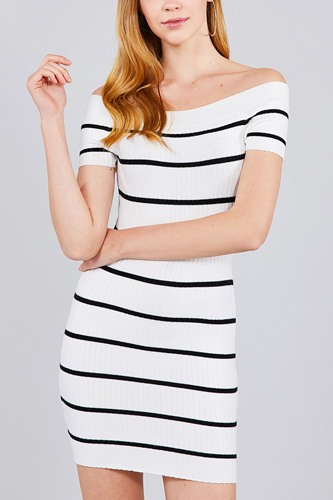 Short sleeve off the shoulder striped mini sweater dress-id.cc37347a