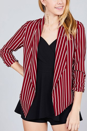 Shirring sleeve open front w/label striped jacket-id.cc37348