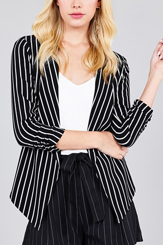 Shirring sleeve open front w/label striped jacket-id.cc37348a