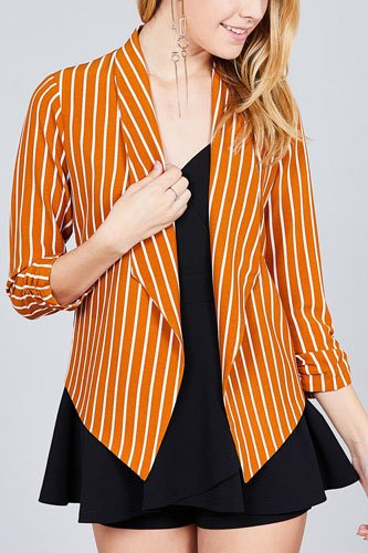 Shirring sleeve open front w/label striped jacket-id.cc37348b