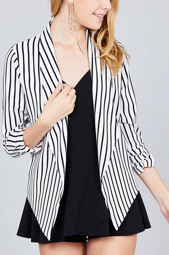 Shirring sleeve open front w/label striped jacket-id.cc37348c