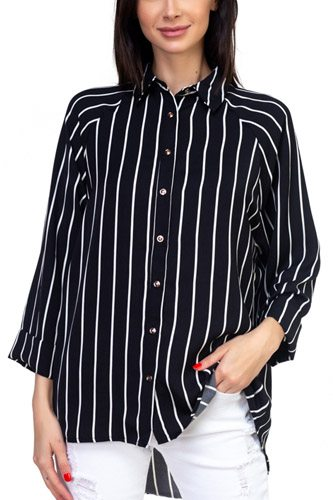 Stripe snap button down shirt-id.cc37350